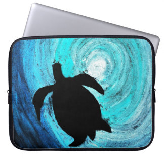 Sea Turtle Silhouette Laptop Sleeve