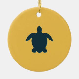 Sea Turtle Silhouette with shadow Ceramic Ornament