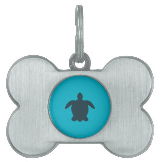Sea Turtle Silhouette with shadow Pet Name Tag
