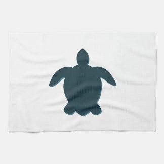 Sea Turtle Silhouette with shadow Tea Towel