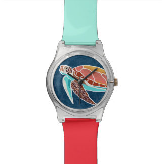 Sea Turtle Swimming Illustrated Watch