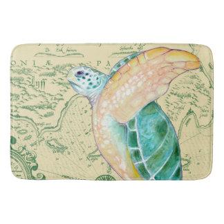 Sea Turtle Tan Map Vintage Bath Mat