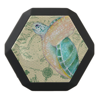 Sea Turtle Tan Map Vintage Black Bluetooth Speaker