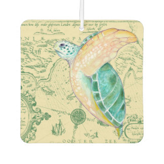 Sea Turtle Tan Map Vintage Car Air Freshener