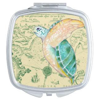 Sea Turtle Tan Map Vintage Compact Mirror