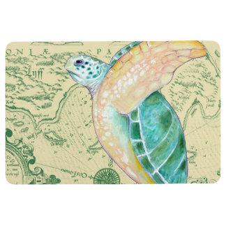 Sea Turtle Tan Map Vintage Floor Mat