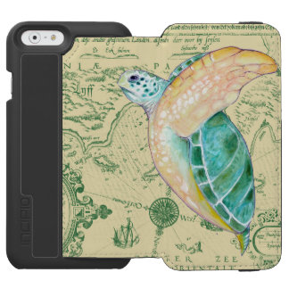 Sea Turtle Tan Map Vintage Incipio Watson™ iPhone 6 Wallet Case