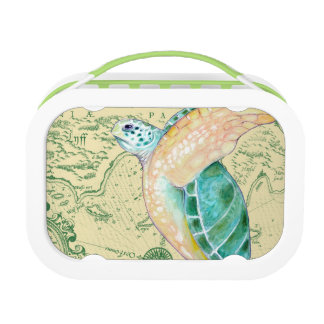 Sea Turtle Tan Map Vintage Lunch Box