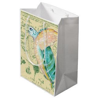 Sea Turtle Tan Map Vintage Medium Gift Bag