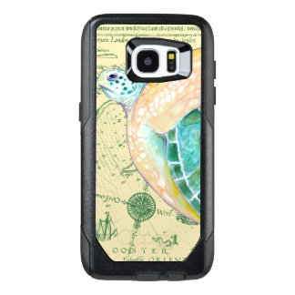 Sea Turtle Tan Map Vintage OtterBox Samsung Galaxy S7 Edge Case
