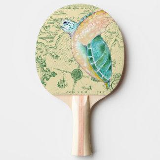 Sea Turtle Tan Map Vintage Ping Pong Paddle