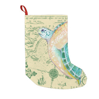 Sea Turtle Tan Map Vintage Small Christmas Stocking