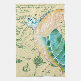 Sea Turtle Tan Map Vintage Tea Towel