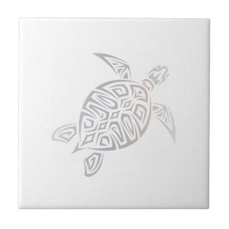 Sea Turtle Tribal  Beige White Small Square Tile