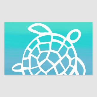 Sea Turtle Watercolor Ocean Rectangular Sticker