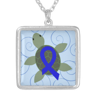 Sea Turtle with Blue Awareness Ribbon Silver Plated Necklace