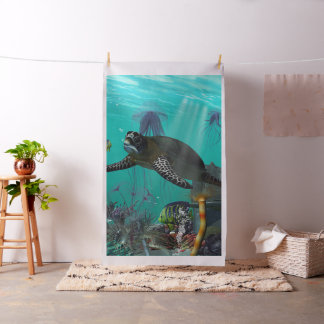 Sea turtle with other fish fabric