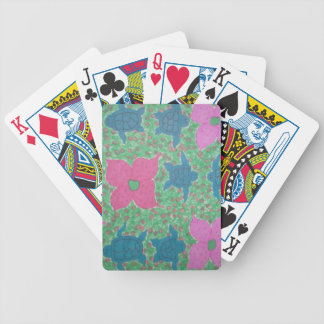 Sea Turtles and Flowers Tropical Art Bicycle Playing Cards