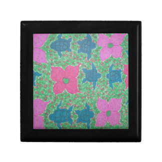 Sea Turtles and Flowers Tropical Art Gift Box