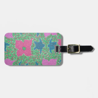 Sea Turtles and Flowers Tropical Art Luggage Tag