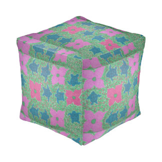 Sea Turtles and Flowers Tropical Square Pouf