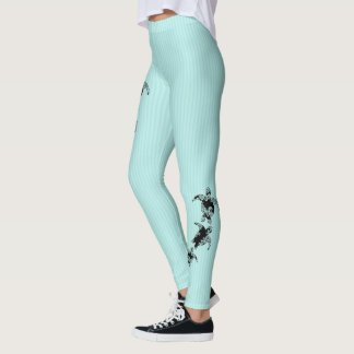 Sea Turtles and Pin Stripe Aqua Leggings