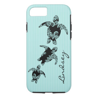 Sea Turtles Aqua Stripe with Name iPhone 8/7 Case
