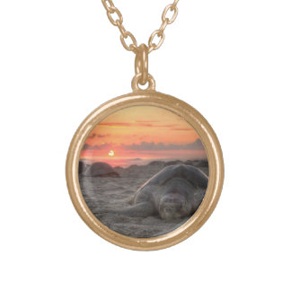 Sea Turtles at Sunset Gold Plated Necklace