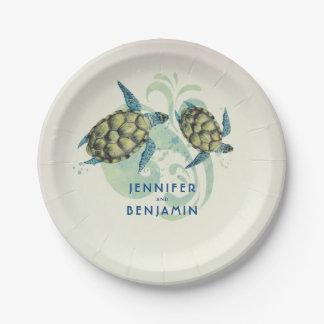 Sea Turtles Beach Coastal Nautical Paper Plate