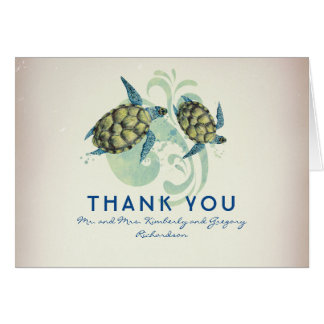 Sea Turtles Beach Tropical Thank You Card