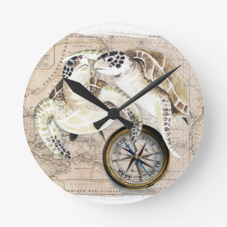 Sea Turtles Compass Map Clock
