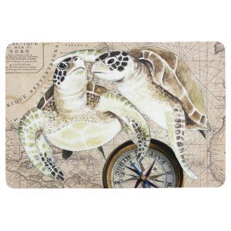 Sea Turtles Compass Map Floor Mat
