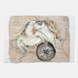 Sea Turtles Compass Map Hand Towels