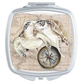 Sea Turtles Compass Map Makeup Mirror