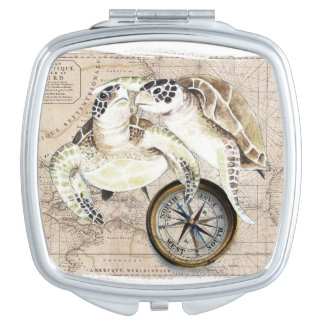 Sea Turtles Compass Map Mirrors For Makeup