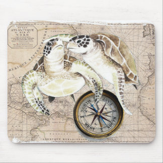 Sea Turtles Compass Map Mouse Pad