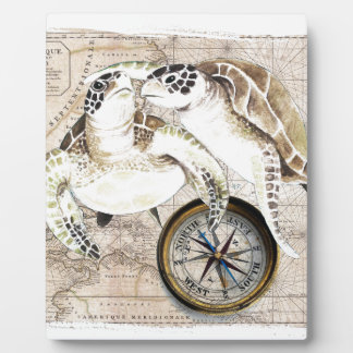 Sea Turtles Compass Map Plaque
