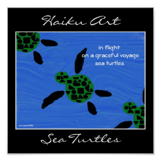 Sea Turtles Haiku Art Print