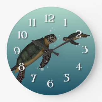 Sea Turtles Large Clock