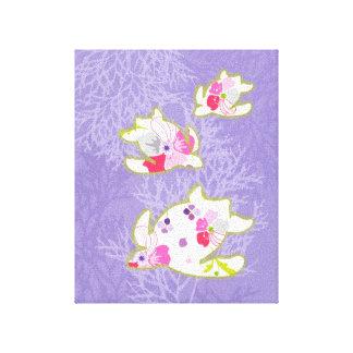 Sea Turtles on Plain violet background Canvas Print