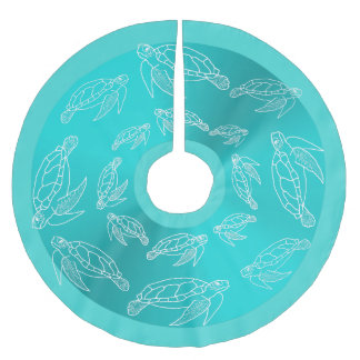 Sea Turtles Pattern Aquamarine Tropical Tree Skirt