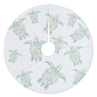 Sea Turtles Pattern White Green Fleece Tree Skirt