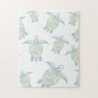 Sea Turtles Pattern White Green Jigsaw Puzzle