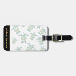 Sea Turtles Pattern White Green Luggage Tag