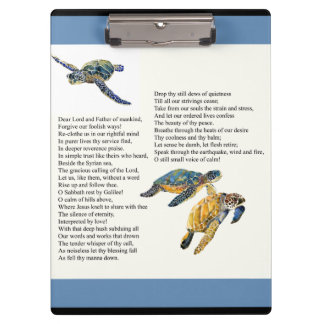 Sea Turtles Peace Calm Poem Prayer Clipboard