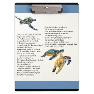 Sea Turtles Peace Calm Poem Prayer Clipboard