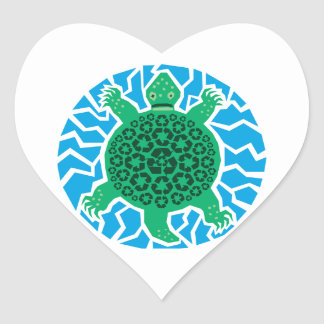 Sea Turtles, Recycling Heart Sticker