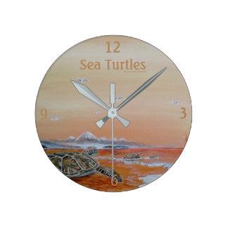 Sea Turtles! Sea turtle wall clock. Round Clock