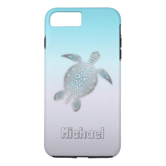 Sea Turtles Silver Monogram Animal iPhone 8 Plus/7 Plus Case