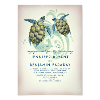 Sea Turtles Tropical Beach Engagement Party Card